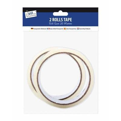 2 by 18mm x 25m Clear Tape