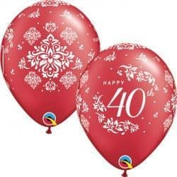 "40TH ANNIVERSARY DAMASK 11"" PEARL RUBY RED (25CT)"