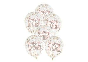 "6ct 12"" Rose Gold Confetti Birthday Balloons"