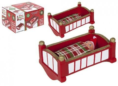 """7"""" MINI BABY RED ROCKING ELF  BED WITH BLANKET"""