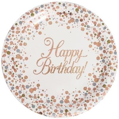 8 x Happy Birthday Sparkling Fizz Rose Gold Plates
