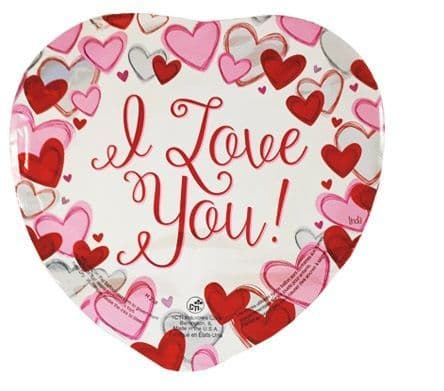 9 INCH WHITE LOVE YOU HEARTS FOIL BALLOON