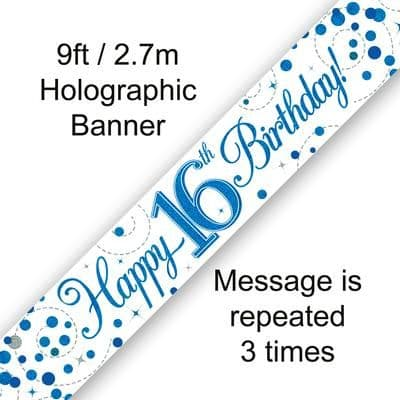 9ft Banner 16th Sparkling Fizz Birthday Blue Holographic