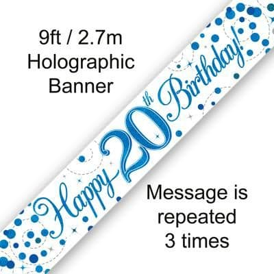 9ft Banner 20th Sparkling Fizz Birthday Blue Holographic