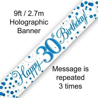 9ft Banner 30th Sparkling Fizz Birthday Blue Holographic