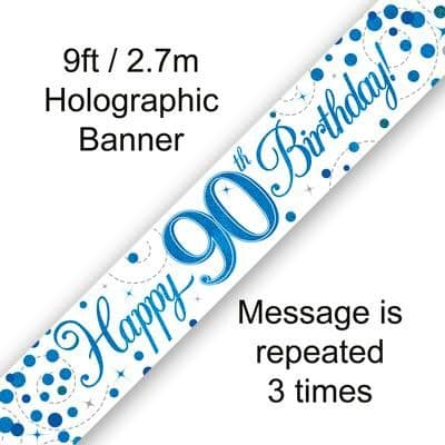 9ft Banner 90th Sparkling Fizz Birthday Blue Holographic