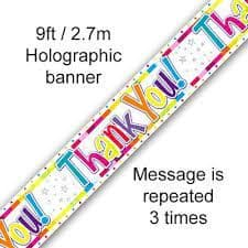 9ft Banner Birthday Bright Thank You Holographic