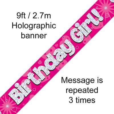 9ft Banner Birthday Girl Pink Holographic