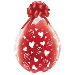"""SWIRLING HEARTS-A-ROUND 18"""" DIAMOND CLEAR (25CT) Stuffing Balloons"""