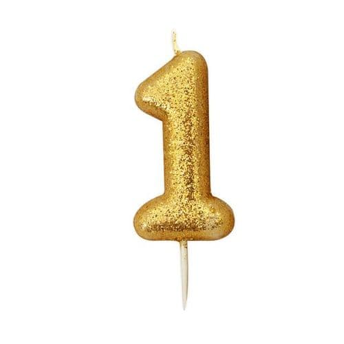 Age 1 Glitter Numeral Moulded Pick Candle Gold
