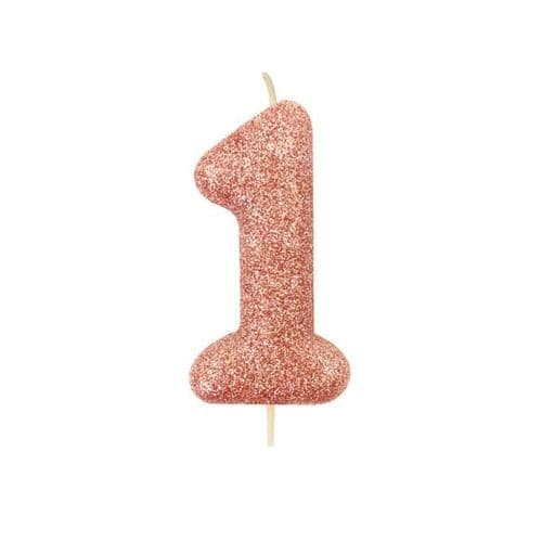 Age 1 Glitter Numeral Moulded Pick Candle Rose Gold