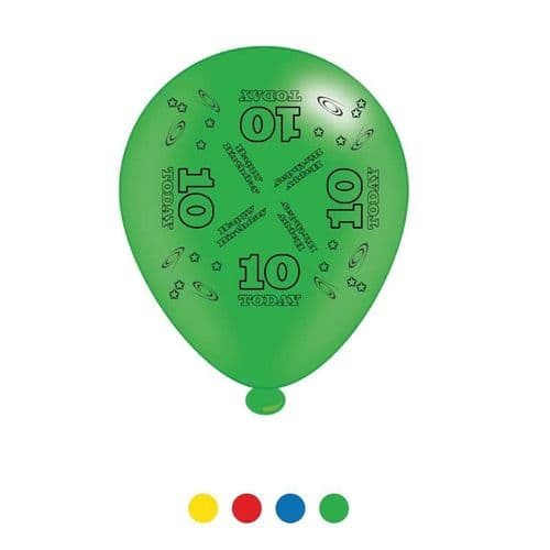 Age 10 Unisex Birthday Latex Balloons (6 pks of 8 balloons)