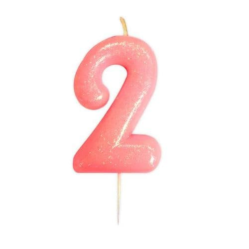 Age 2 Glitter Numeral Moulded Pick Candle Pink