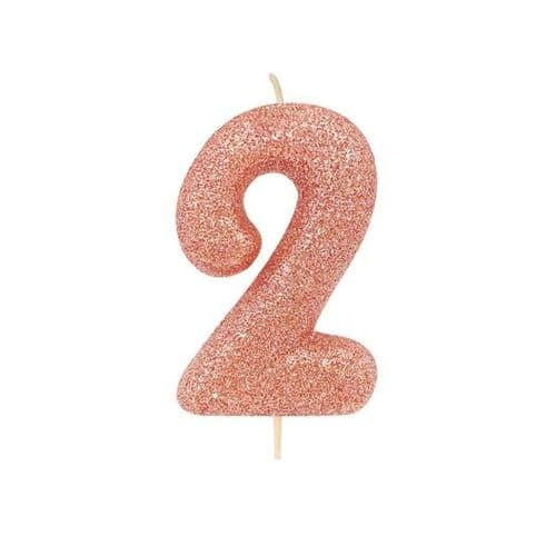 Age 2 Glitter Numeral Moulded Pick Candle Rose Gold