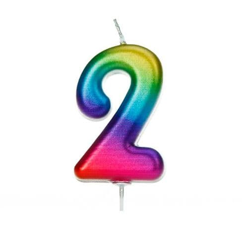 Age 2 Metallic Numeral Moulded Pick Candle Rainbow