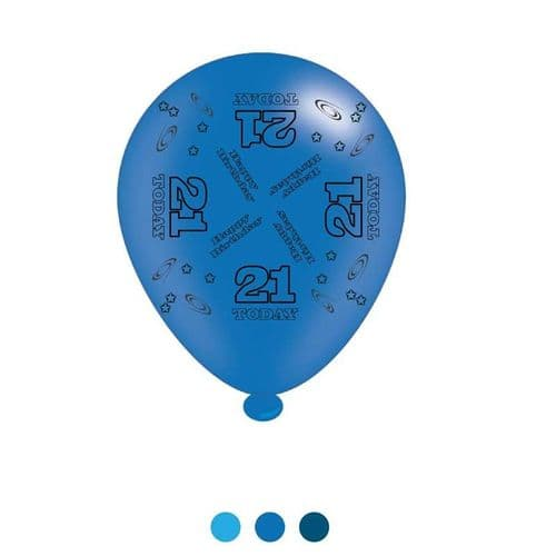 Age 21 Blue Birthday Latex Balloons (6 pks of 8 balloons)