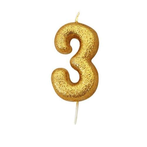 Age 3 Glitter Numeral Moulded Pick Candle Gold