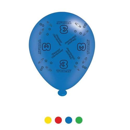 Age 3 Unisex Birthday Latex Balloons (6 pks of 8 balloons)