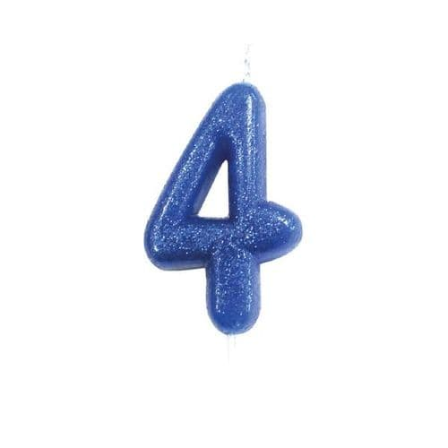 Age 4 Glitter Numeral Moulded Pick Candle Blue