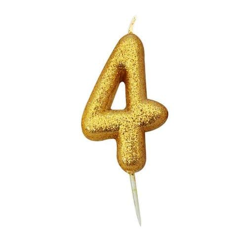 Age 4 Glitter Numeral Moulded Pick Candle Gold