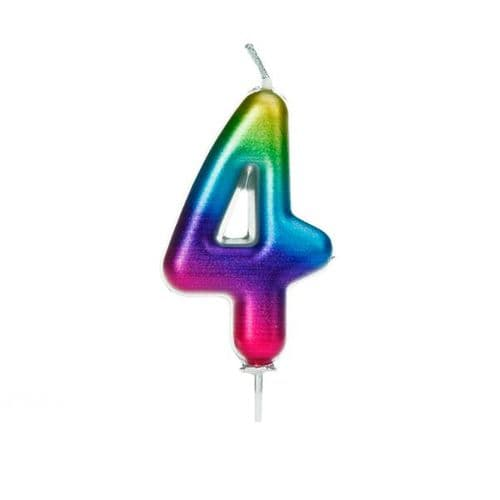 Age 4 Metallic Numeral Moulded Pick Candle Rainbow