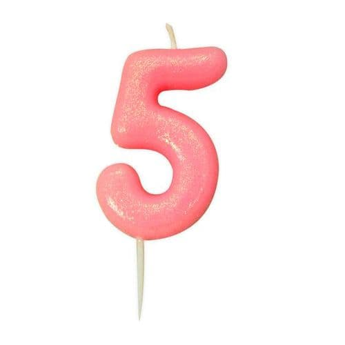 Age 5 Glitter Numeral Moulded Pick Candle Pink