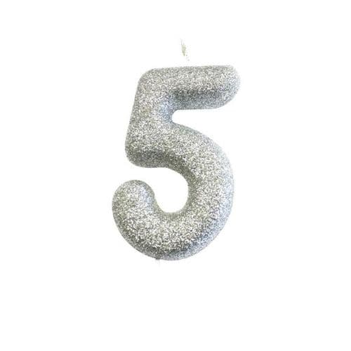 Age 5 Glitter Numeral Moulded Pick Candle Silver