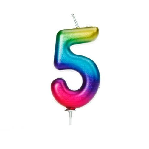 Age 5 Metallic Numeral Moulded Pick Candle Rainbow