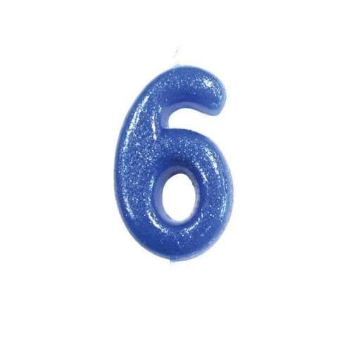 Age 6 Glitter Numeral Moulded Pick Candle Blue