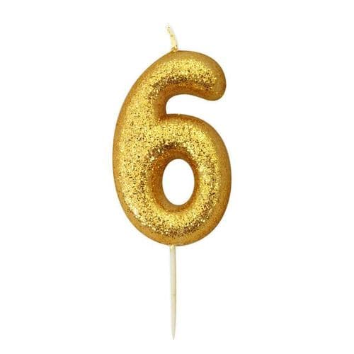 Age 6 Glitter Numeral Moulded Pick Candle Gold