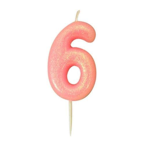 Age 6 Glitter Numeral Moulded Pick Candle Pink
