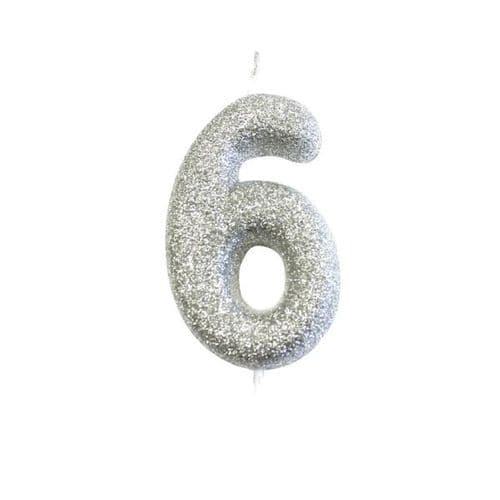 Age 6 Glitter Numeral Moulded Pick Candle Silver