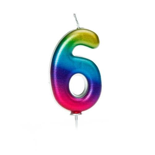 Age 6 Metallic Numeral Moulded Pick Candle Rainbow