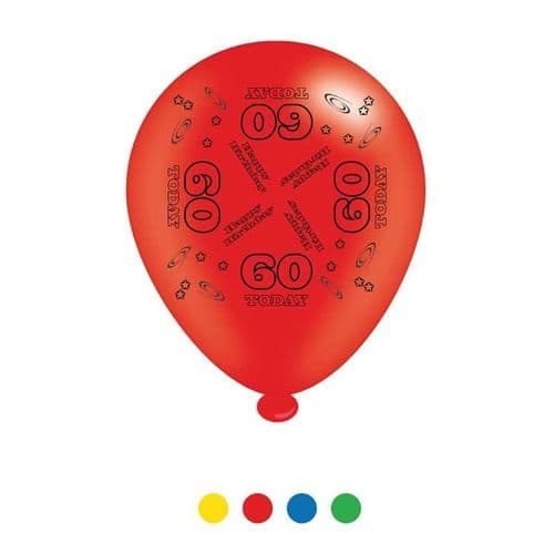 Age 60 Unisex Birthday Latex Balloons (6 pks of 8 balloons)