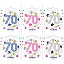 Age 70 Small Badges (6 assorted per perforated card) (5.5cm)