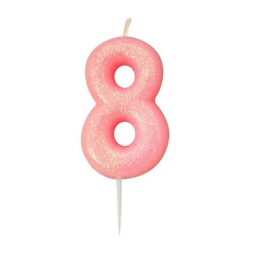 Age 8 Glitter Numeral Moulded Pick Candle Pink