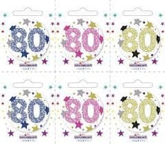 Age 80 Small Badges (6 assorted per perforated card) (5.5cm)