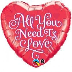 "ALL YOU NEED IS LOVE RED 18"" PKT"