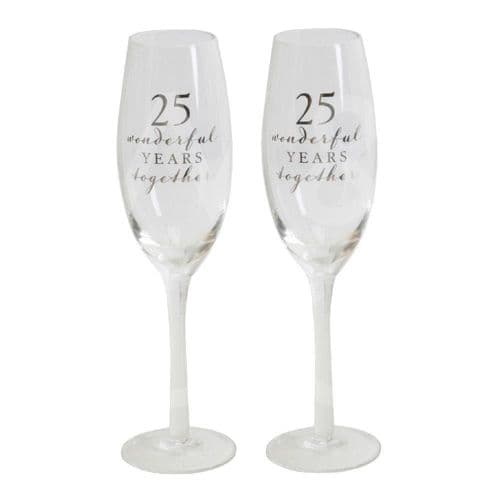 Amore Champagne Flutes Set of 2 - 25th Anniversary gift