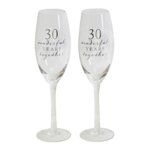Amore Champagne Flutes Set of 2 - 30th Anniversary gift