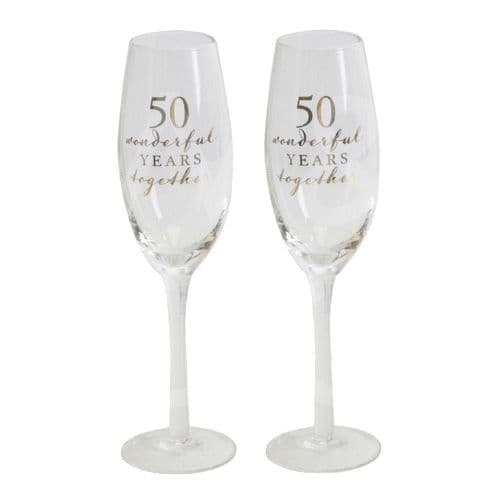 Amore Champagne Flutes Set of 2 - 50th Anniversary gift