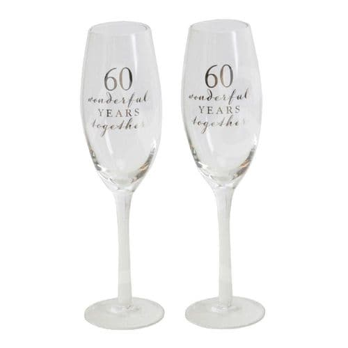 Amore Champagne Flutes Set of 2 - 60th Anniversary gift