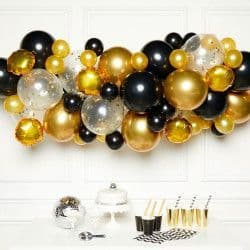 AMSCAN BLACK, GOLD & SILVER DIY GARLAND BALLOON KIT (CONTAINS 66 BALLOONS)