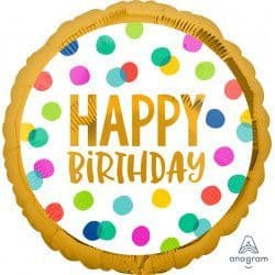 """Anagram 18"""" Happy Dots Happy Birthday Packaged"""