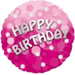 """Anagram 18"""" Pink Sparkle Party Happy Birthday Packaged"""