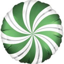 """ANAGRAM 18"""" S40 SATIN INFUSED EMERALD CANDY SWIRL PKT"""