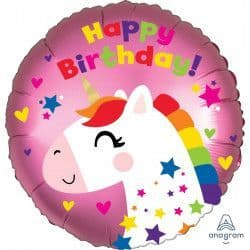 "Anagram 18"" Satin Luxe Unicorn Birthday Packaged"