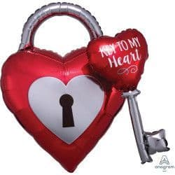 """Anagram Multi Balloon P45 Shape Key To My Heart (30""""x32"""") Packaged"""
