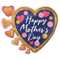 """Anagram P35 Shape Pink & Navy Glitter Dots Happy Mother's Day 24"""" x 20"""" Packaged"""