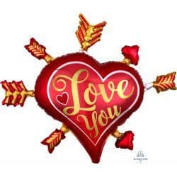 """ANAGRAM P35 SHAPE SATIN INFUSED ARROWS  LOVE YOU PKT (34"""" x 28"""")"""